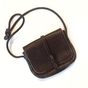 Vintage Dark Brown Leather Crossbody ✨